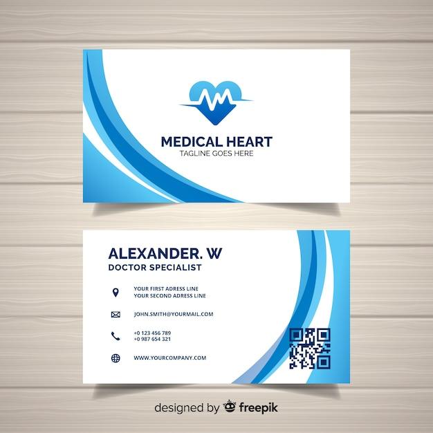 Concept de carte de visite créative pour hôpital ou médecin Vecteur gratuit