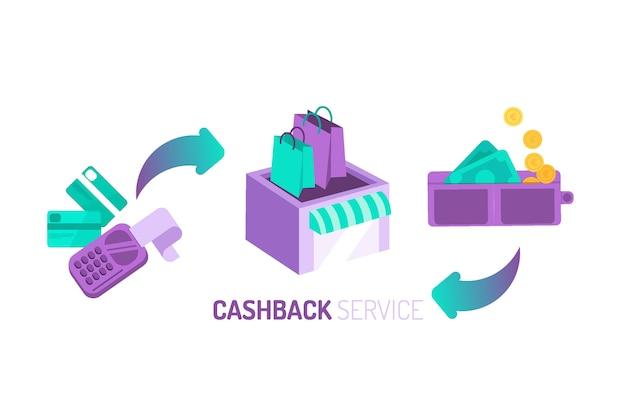 Concept De Cashback Avec De L'argent Et Un Magasin Vecteur gratuit