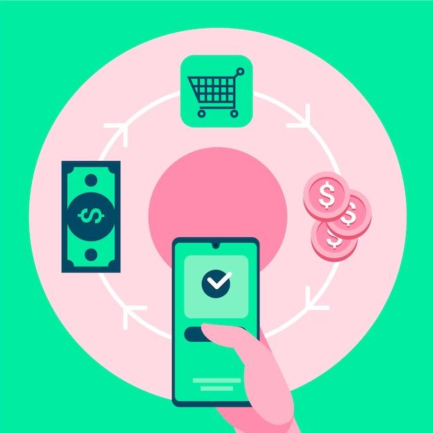 Concept De Cashback Avec Paiement Par Smartphone Vecteur gratuit