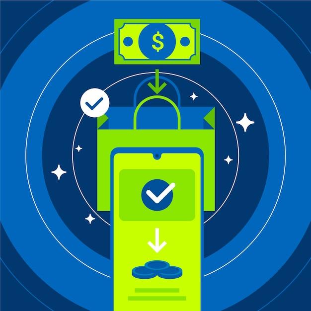 Concept De Cashback Avec Paiement Par Téléphone Vecteur gratuit