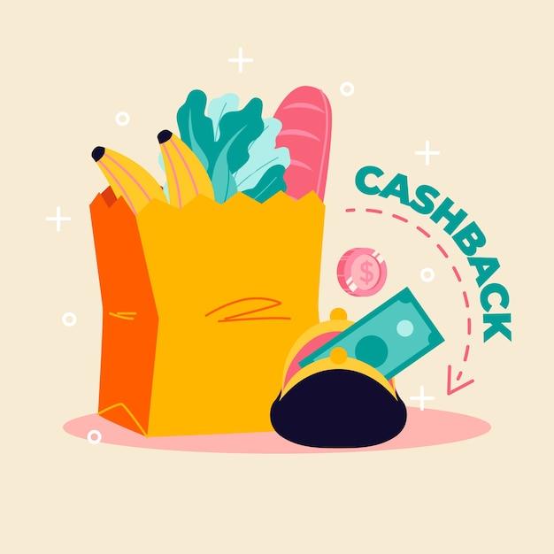 Concept De Cashback Pour Faire Du Shopping Vecteur gratuit