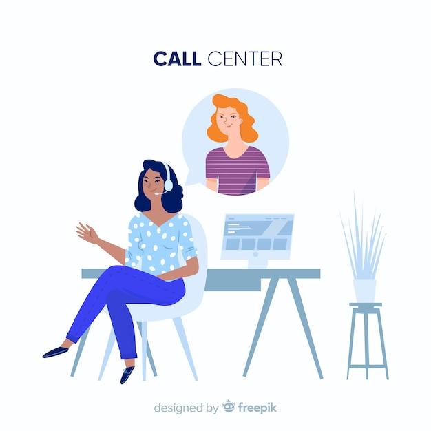 Concept de centre d'appel Vecteur gratuit