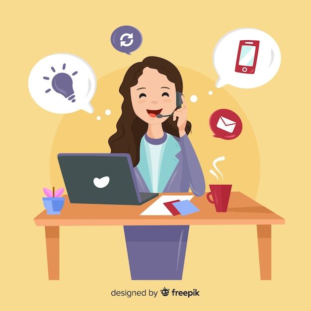 Concept de centre d'appels avec femme Vecteur gratuit