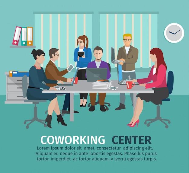 Concept de centre de coworking Vecteur gratuit