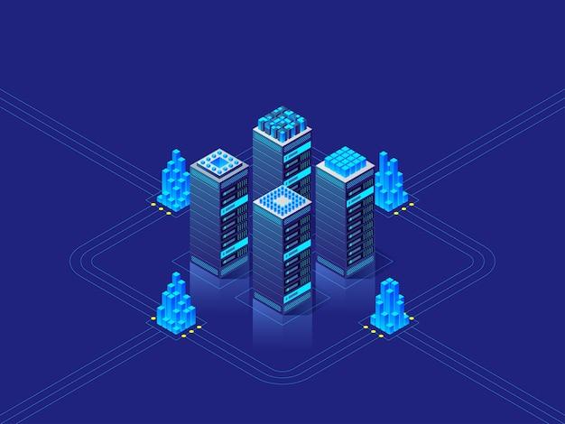 Concept De Centre De Données. Abstrait De Haute Technologie Pour Site Web, En-tête, Bannière. Illustration Isométrique Vecteur Premium