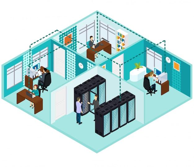 Concept De Centre De Données Isométrique Vecteur gratuit
