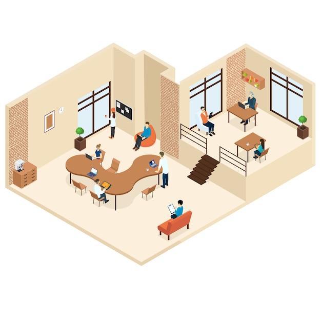 Concept De Centre Isométrique De Coworking Vecteur gratuit