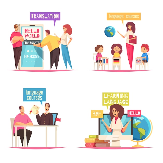 Concept De Centre De Langue 4 Compositions De Dessins Animés Plats Avec Dictionnaires De Formation En Ligne Et Cours De Groupe Pour Enfants Vecteur gratuit