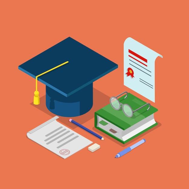 Concept De Certificat De Diplôme De Diplôme D'éducation Isométrique Plat Vecteur Premium