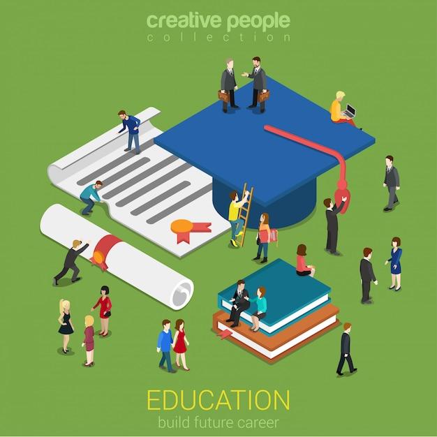 Concept De Certificat De Licence De Remise Des Diplômes De L'éducation Peu De Micro-personnes Avec Des Livres De Capuchon Supérieur Vecteur gratuit