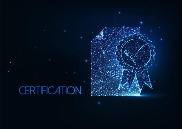 Concept De Certificat De Qualité Supérieure Futuriste Vecteur Premium