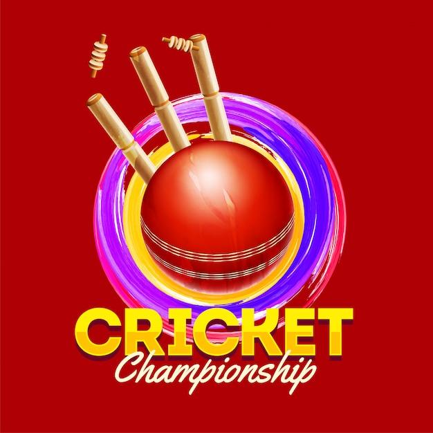 Concept de championnat du monde de cricket. Vecteur Premium