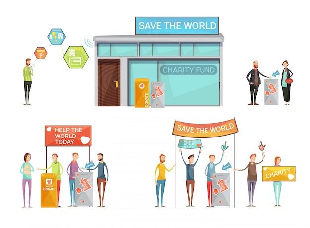 Concept de charité avec la place pour le don et les activistes avec des pancartes appelant à sauver le monde plat Vecteur gratuit