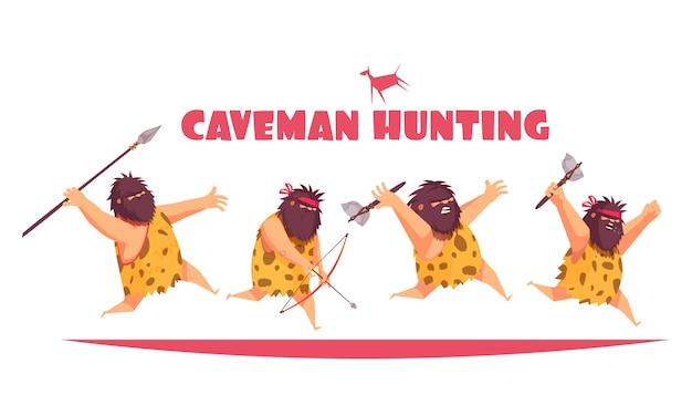 Concept De Chasse Aux Hommes Des Cavernes Avec Des Hommes Primitifs Tenant Divers Types De Dessin Animé D'armes Anciennes Vecteur gratuit