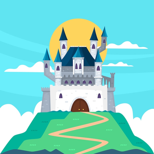 Concept De Château De Conte De Fées Vecteur gratuit