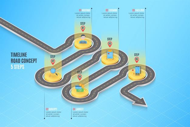 Concept de chronologie de carte de navigation isométrique infographie 5 étapes Vecteur Premium