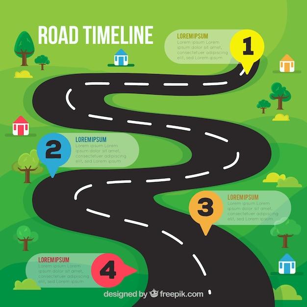 Concept de chronologie infographie avec route Vecteur gratuit