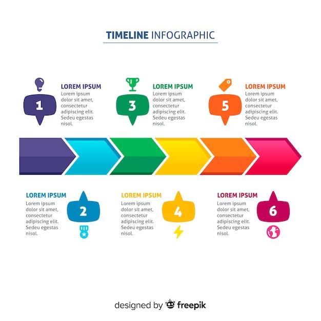 Concept de chronologie d'infographie Vecteur gratuit