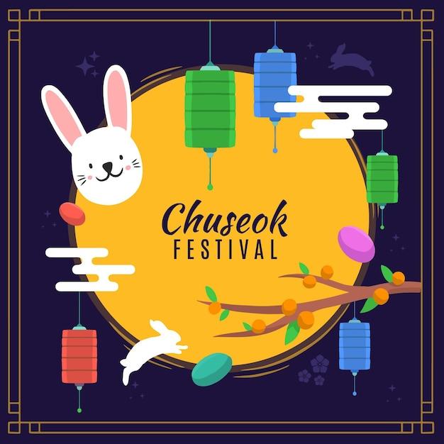 Concept De Chuseok Dessiné à La Main Vecteur Premium