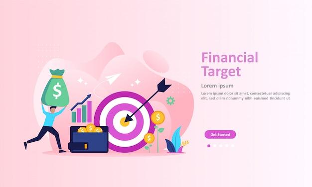 Concept de cible financière, graphique en croissance et réussite des objectifs page de destination Vecteur Premium
