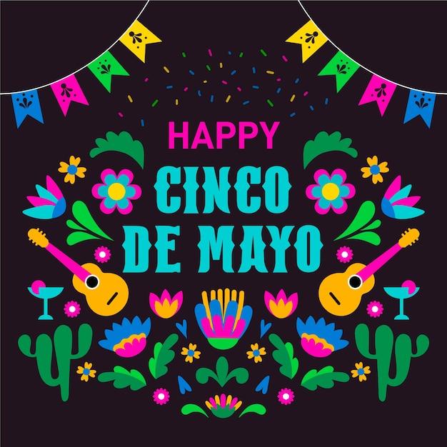 Concept De Cinco De Mayo Plat Vecteur gratuit