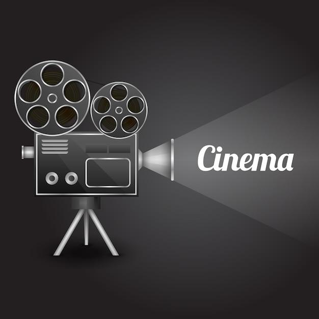 Concept de cinéma design modèle de présentation d'affiches avec rétro projecteur de caméra illustration vectorielle Vecteur gratuit