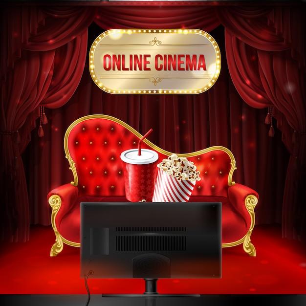 Concept de cinéma en ligne. canapé en velours rouge avec seau de pop-corn et gobelet en plastique pour boissons Vecteur gratuit