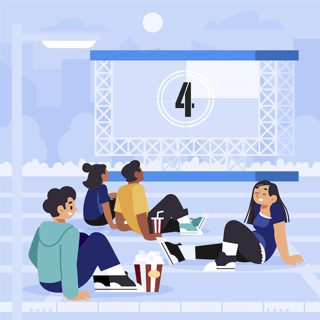 Concept De Cinéma En Plein Air Vecteur gratuit