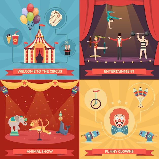 Concept cirque show 2x2 Vecteur gratuit