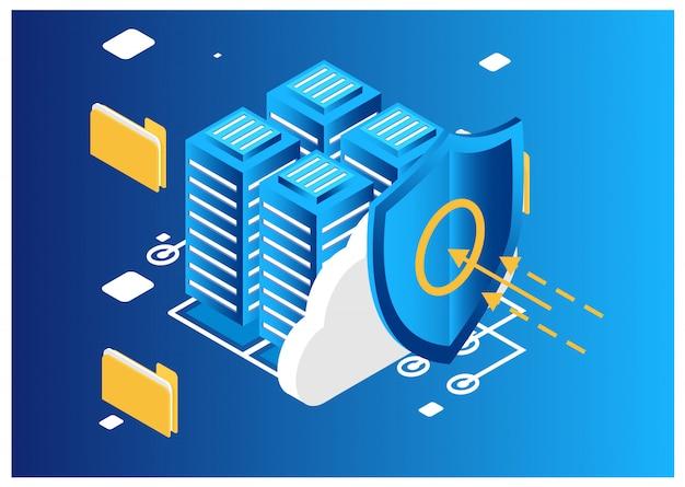 Concept de cloud computing isométrique. Vecteur Premium