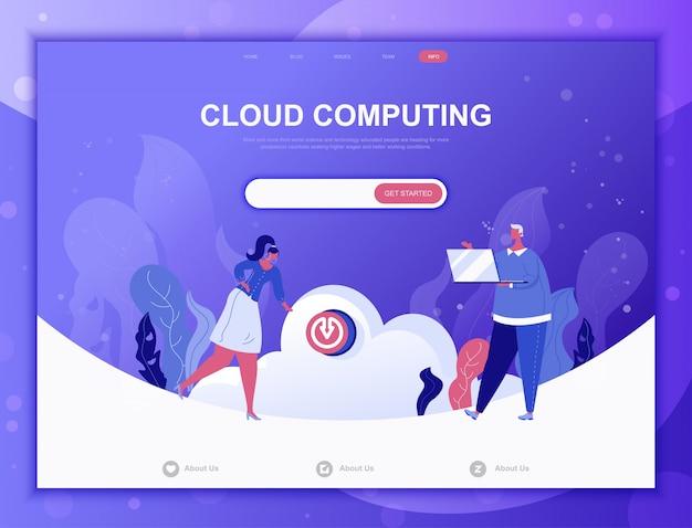 Concept de cloud computing plat, modèle web de page de destination Vecteur Premium
