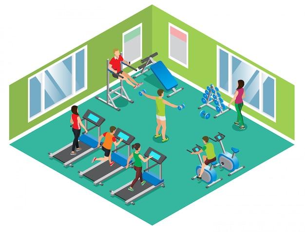 Concept De Club De Fitness Isométrique Avec Des Hommes Et Des Femmes Athlétiques Exerçant Sur Différents Formateurs Isolés Vecteur gratuit