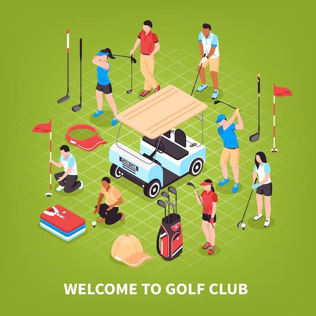 Concept de club de golf Vecteur gratuit