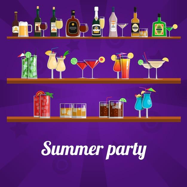 Concept de cocktail d'été Vecteur gratuit