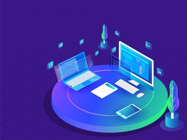 Concept De Codage Et De Programmation Vecteur Premium