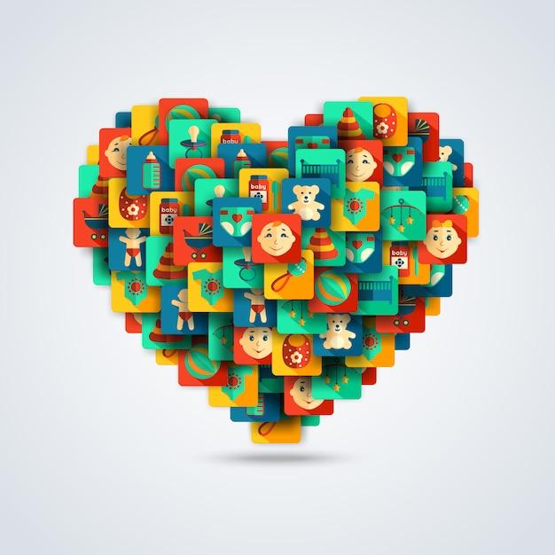 Concept De Coeur De Bébé Vecteur gratuit