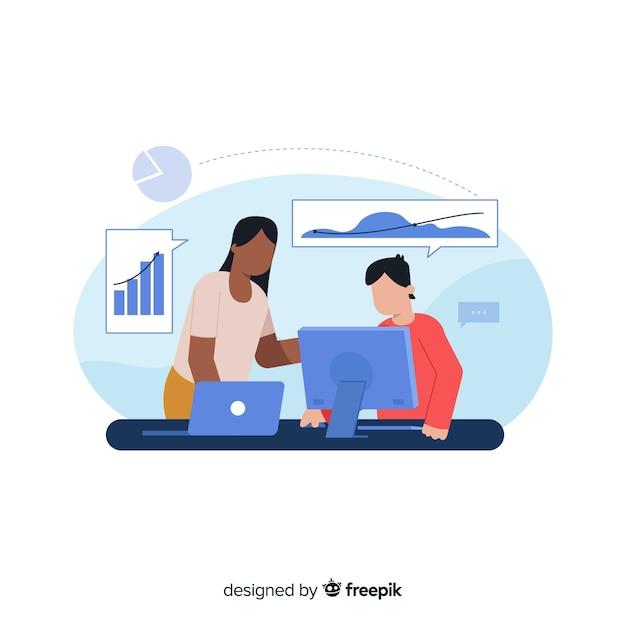 Concept de collaborateurs d'une page de renvoi Vecteur gratuit