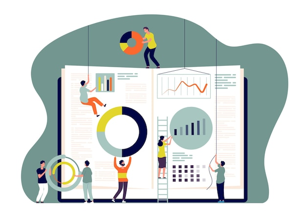 Concept de collaboration. les gens insèrent des graphiques dans un livre, les employés créent des mesures commerciales. coopérez et apprenez ensemble l'image vectorielle. illustration de travail d'équipe de gens d'affaires, équipe de travail ensemble Vecteur Premium