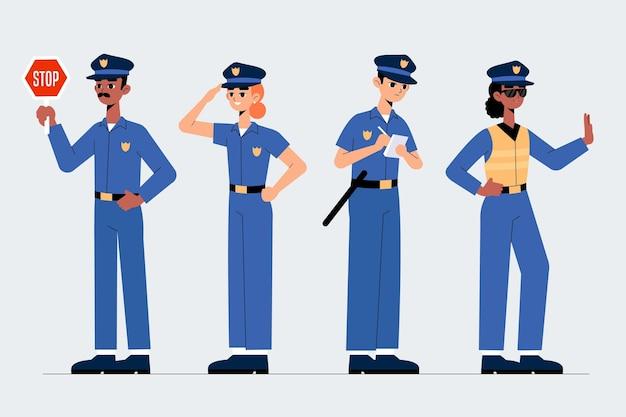 Concept De Collection D'agents De Police Vecteur gratuit