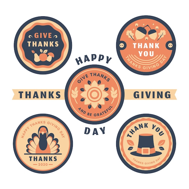 Concept de collection de badge de thanksgiving vintage Vecteur gratuit