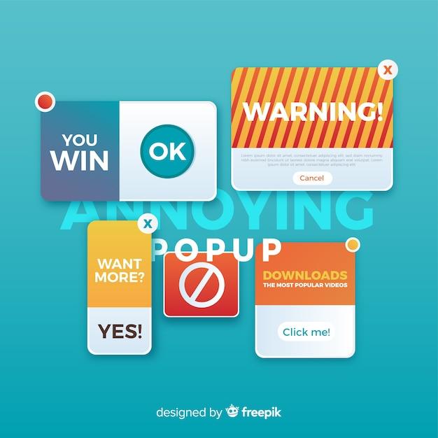 Concept de collection de bannière popup popup Vecteur gratuit