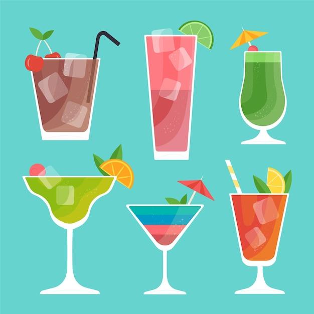 Concept De Collection De Cocktails Design Plat Vecteur gratuit