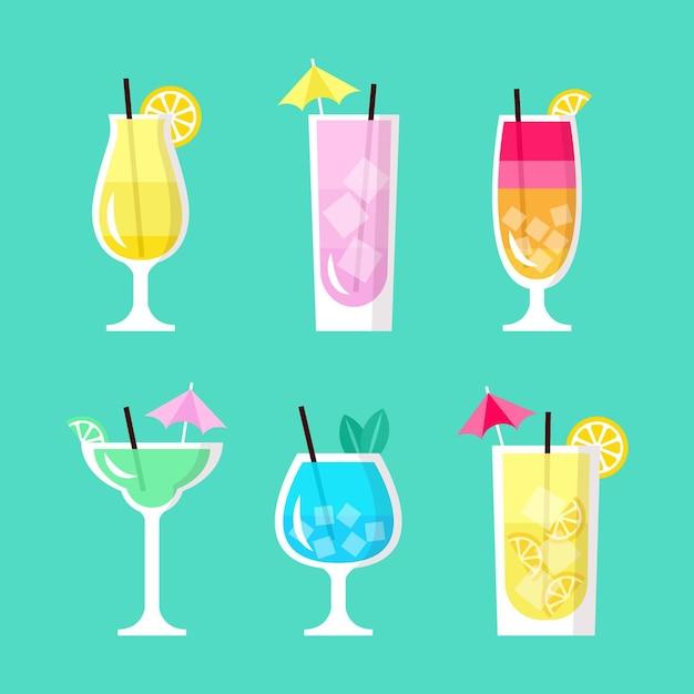Concept De Collection De Cocktails Plats Vecteur gratuit