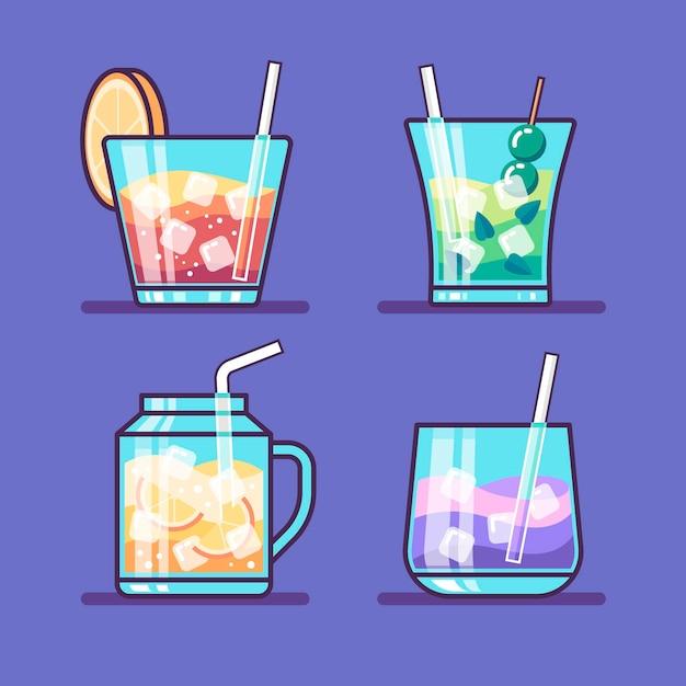 Concept De Collection De Cocktails Vecteur gratuit