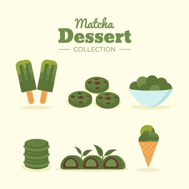 Concept De Collection De Desserts Au Matcha Vecteur gratuit