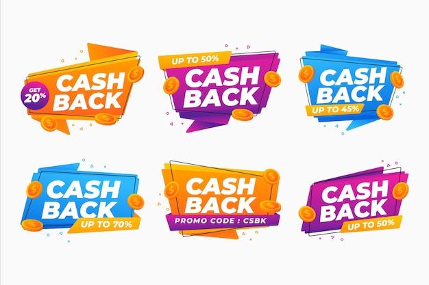 Concept De Collection D'étiquettes De Cashback Vecteur Premium