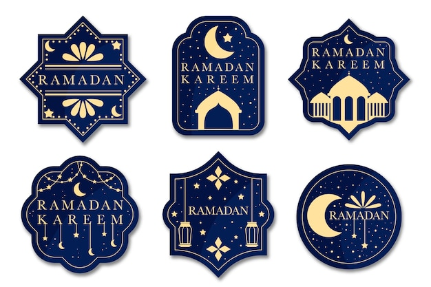 Concept De Collection D'étiquettes Design Plat Ramadan Vecteur gratuit