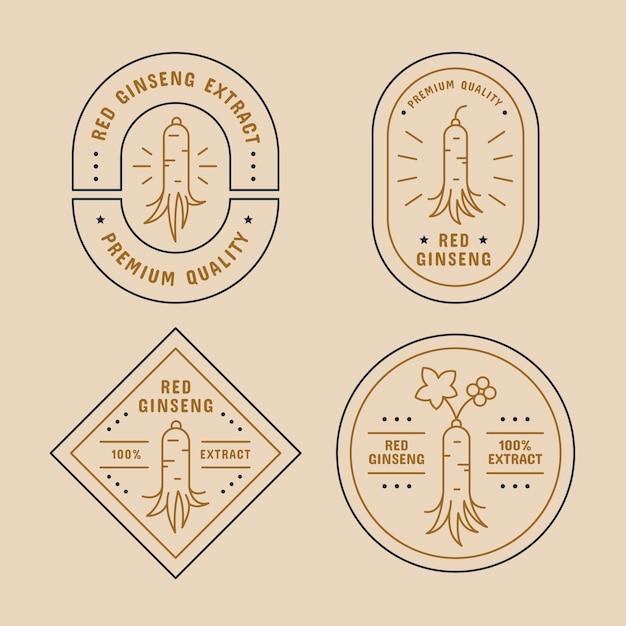 Concept De Collection D'étiquettes De Pot De Ginseng Vecteur gratuit
