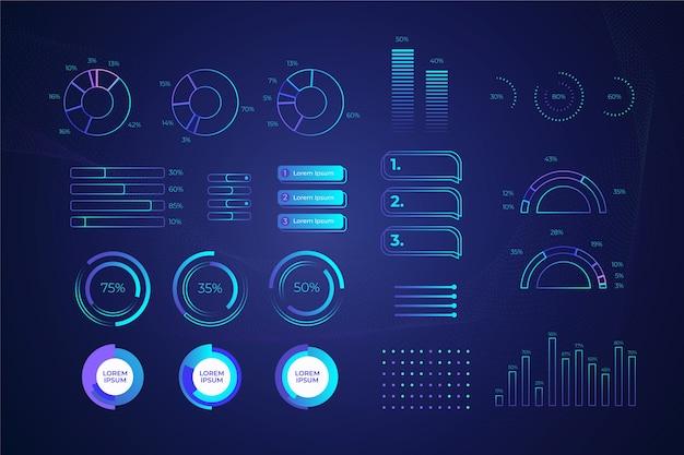 Concept De Collection D'infographie Technologique Vecteur gratuit