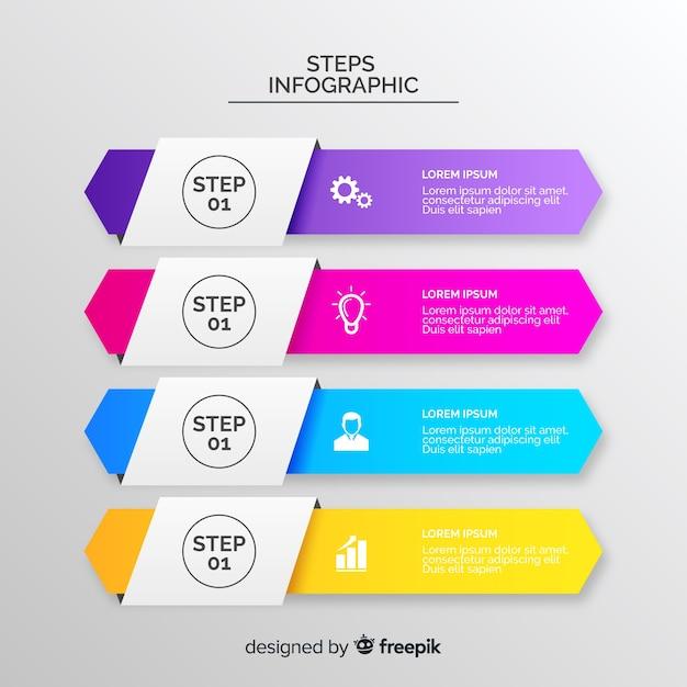 Concept de collection d'infographies étapes Vecteur gratuit